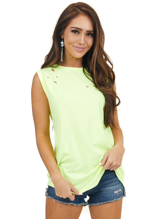 Neon Yellow Muscle Tank with Laser Cut Hole Details