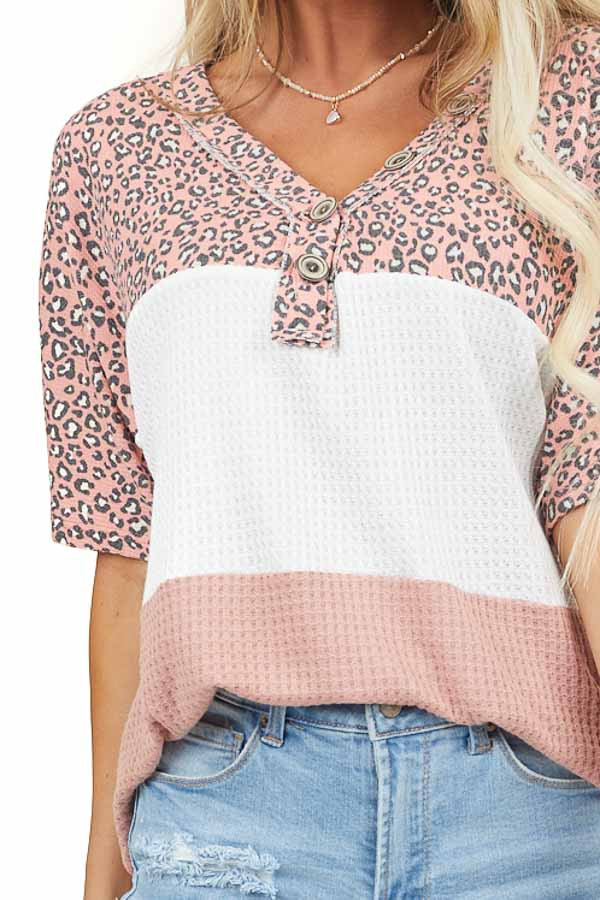 Dusty Pink Henley Colorblock Top with Leopard Contrast