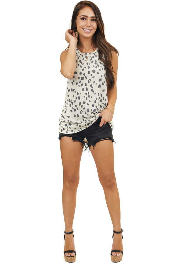 Cream Cheetah Print Tank Top with Back Cutout and Tie Detail