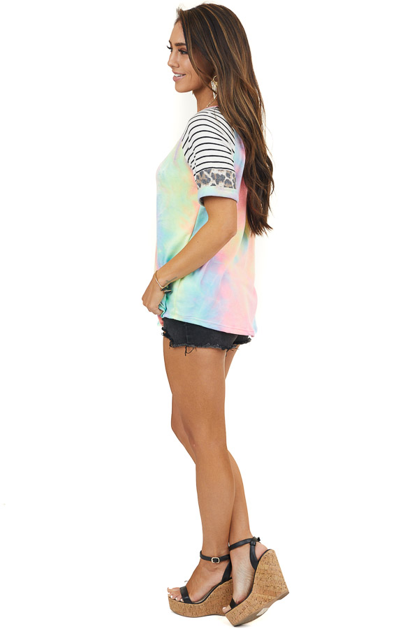 Rainbow Top with Leopard and Striped Contrast Short Sleeves
