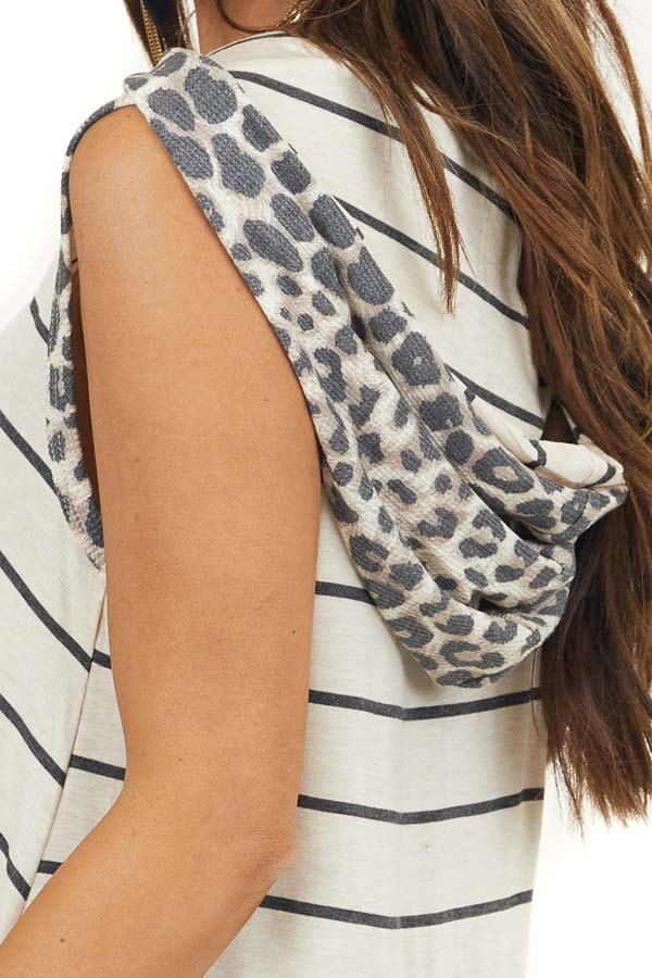 Oatmeal Striped Sleeveless Top with Leopard Contrast Hood