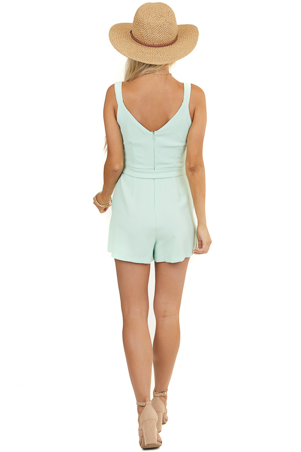 Mint Short Sleeveless Romper with Front Tie and Pockets