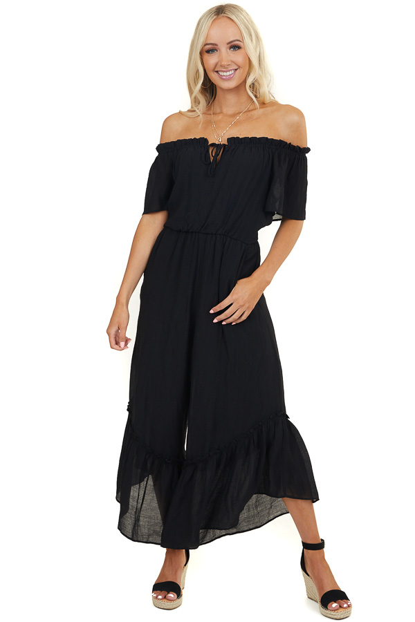 Black Off Shoulder Jumpsuit with Tiered Wide Leg and Pockets