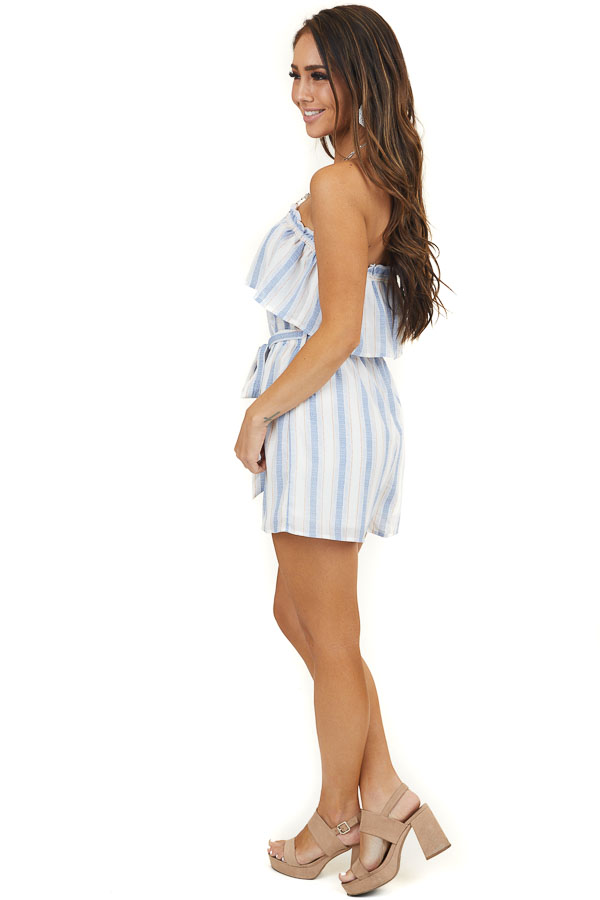 White and Blue Striped Strapless Romper with Waist Tie