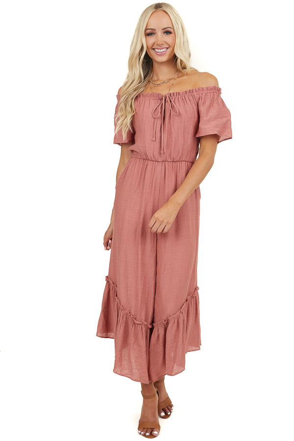 Dusty Pink Off Shoulder Jumpsuit with Tiered Wide Leg