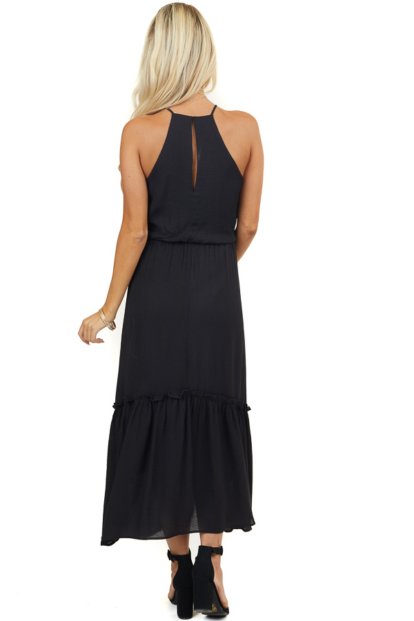 Black Racerback Maxi Dress with Ruffle and Keyhole Detail