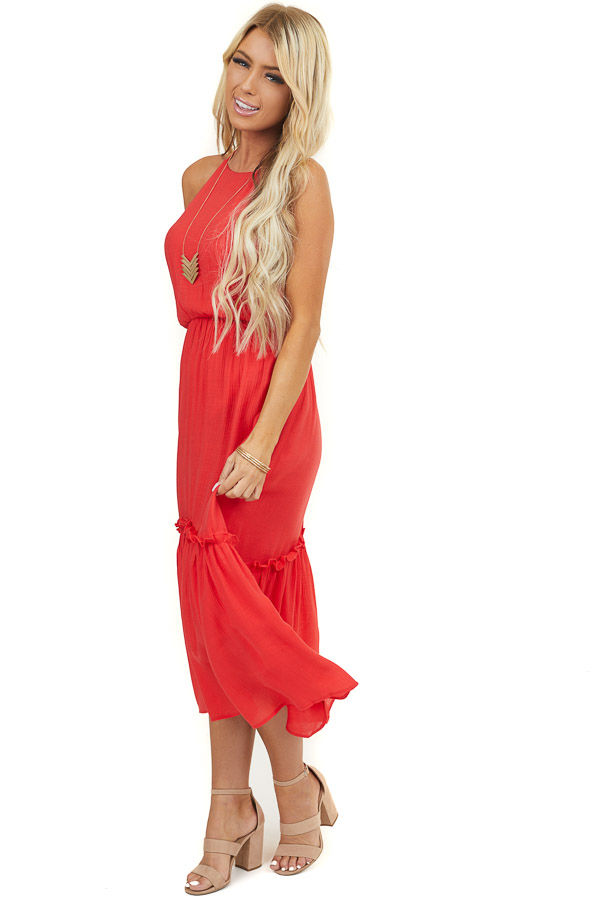 Lipstick Red Racerback Maxi Dress with Ruffle Detail