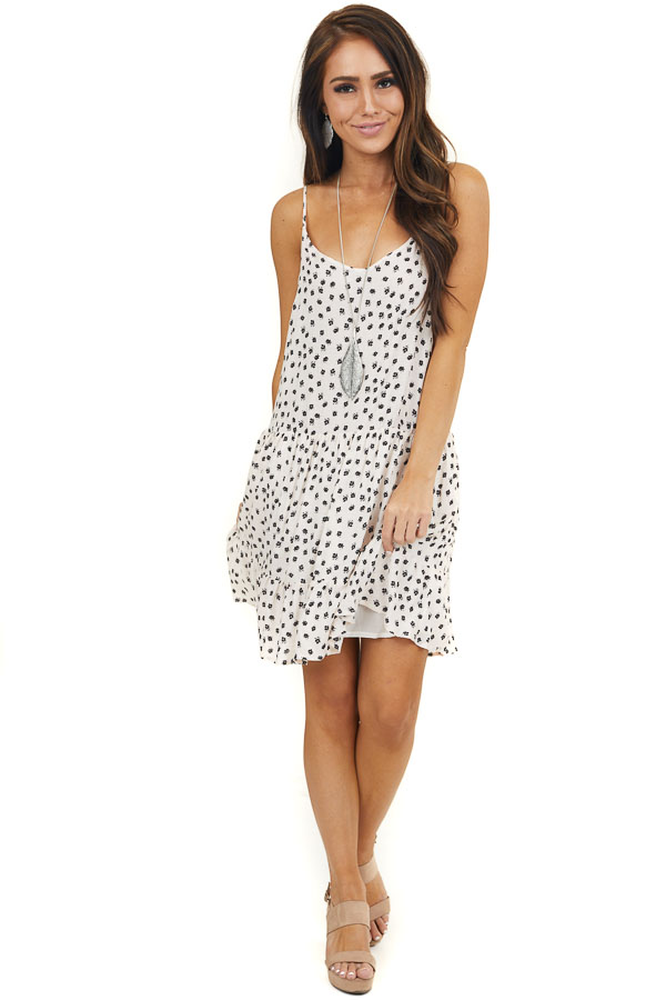 Light Desert Sand Floral Print Swiss Dot Sleeveless Dress