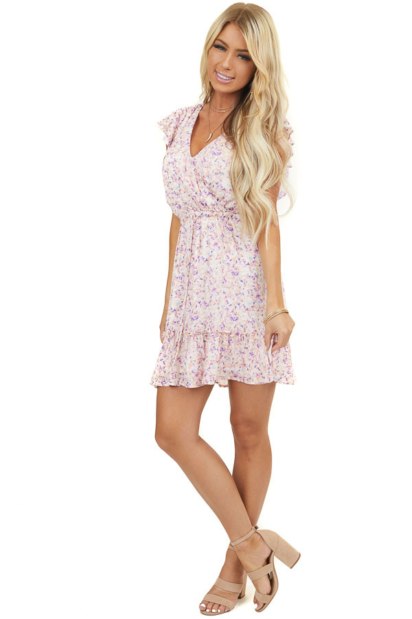Blush Floral Print Short Sleeve Mini Dress with Front Tie
