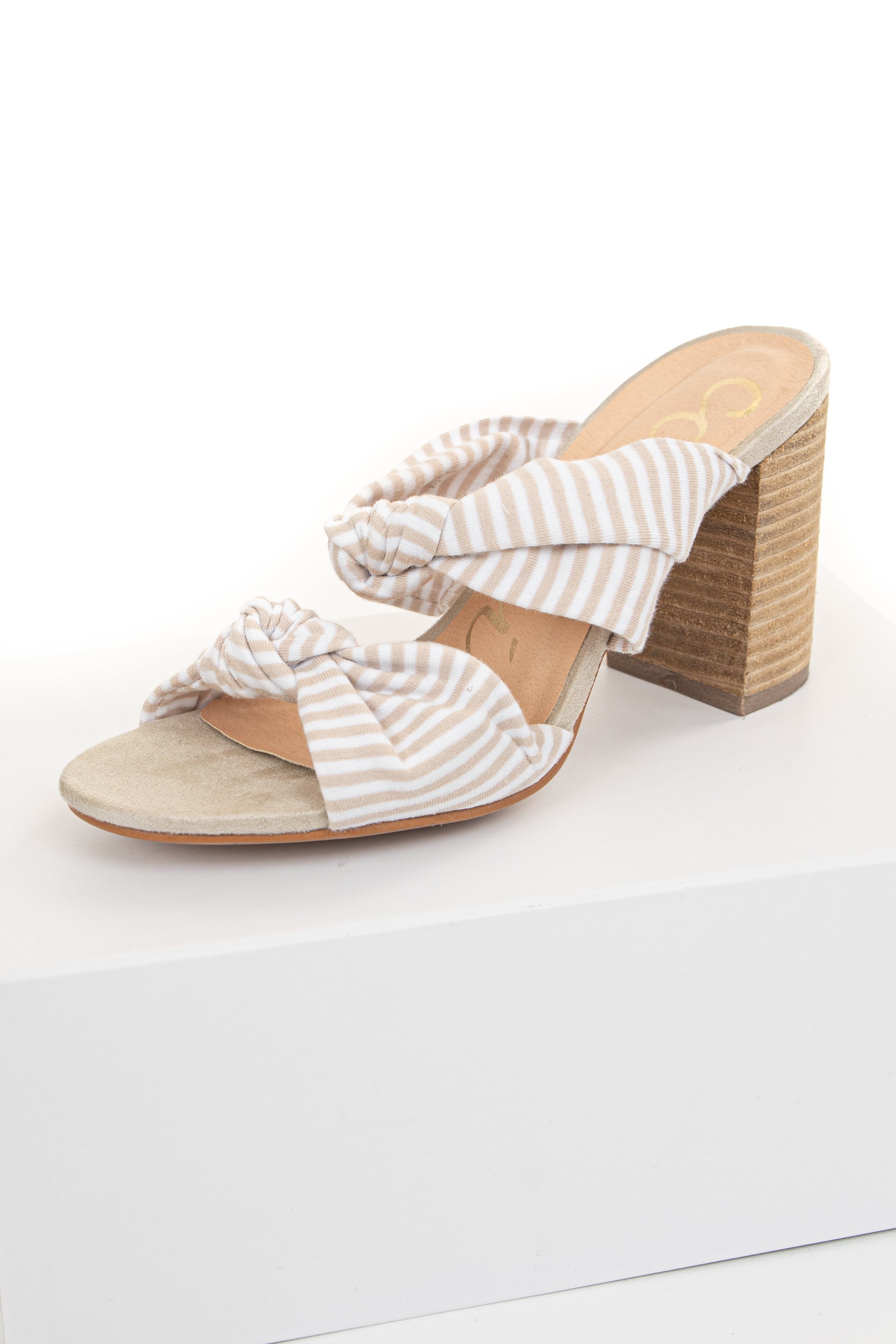 Beige and White Stripe Print High Heels with Knot Details