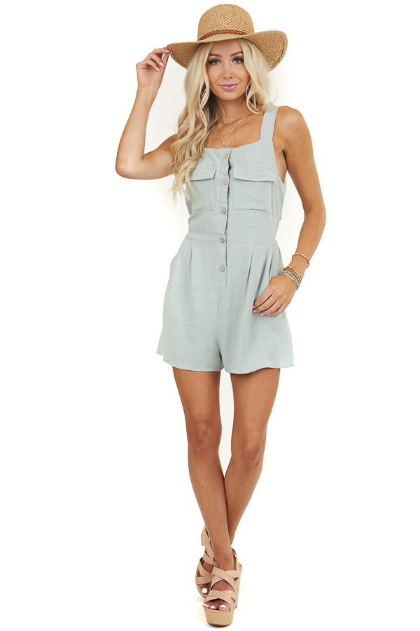 Sage Button Up Sleeveless Romper with Side Pockets