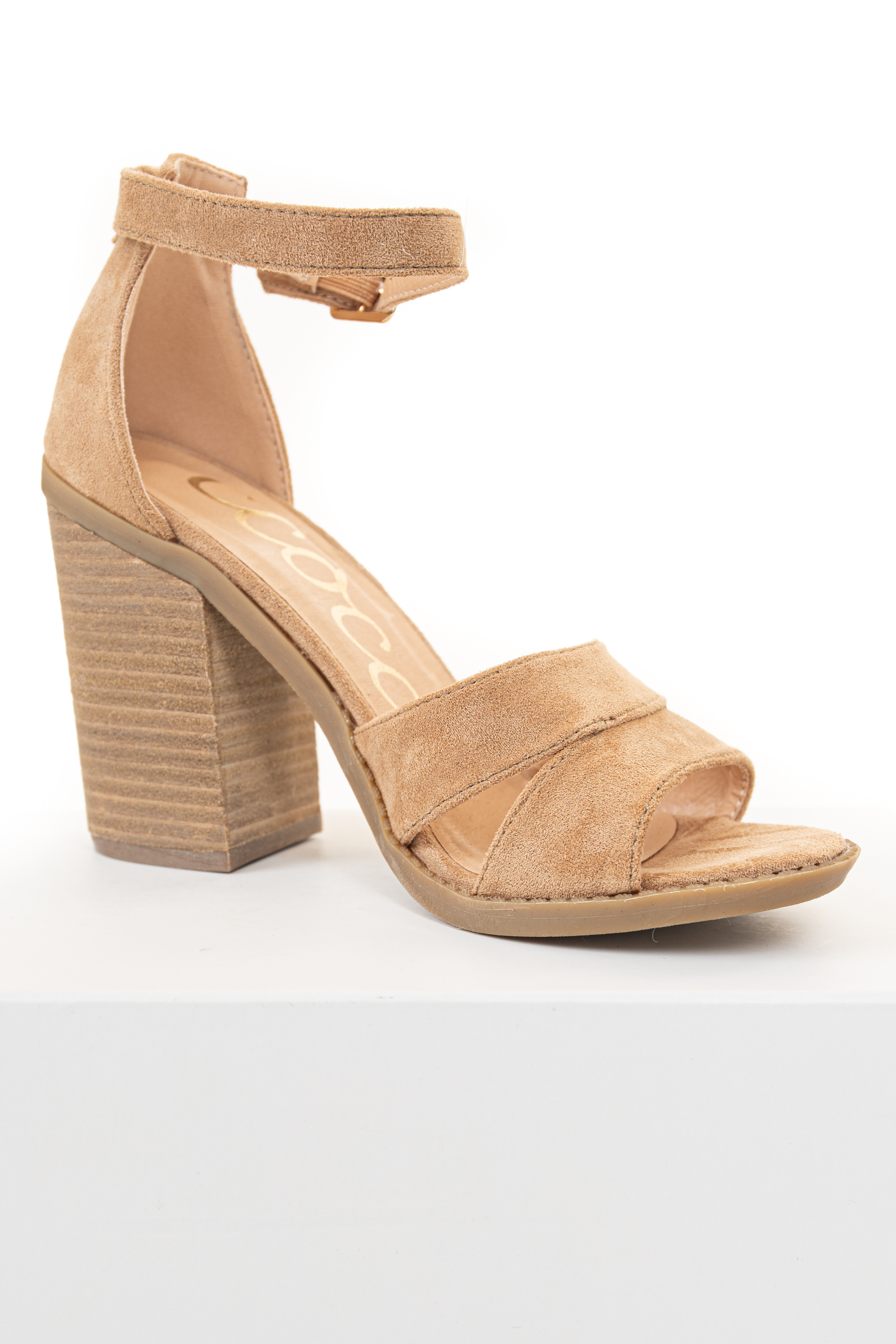 Beige Faux Suede Strappy High Heels with Buckle Closure