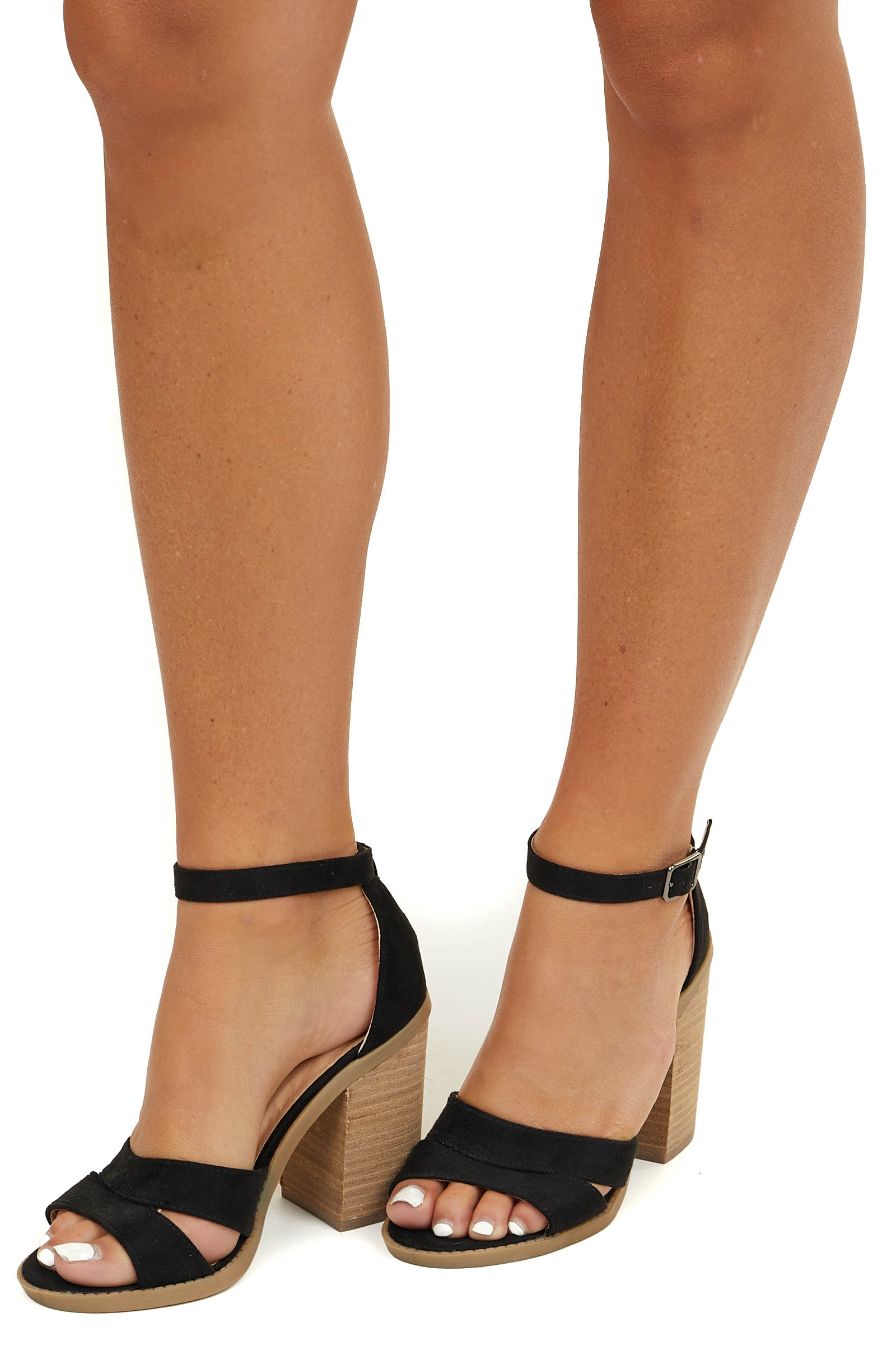Black Faux Suede Strappy High Heels with Buckle Closure