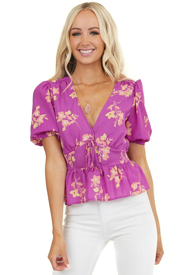 Magenta Floral Surplice Crop Top with Puff Short Sleeves