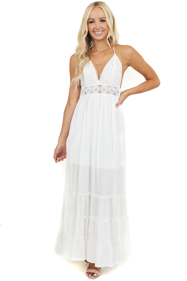 Off White Tiered Maxi Dress with Open Back and Lace Details