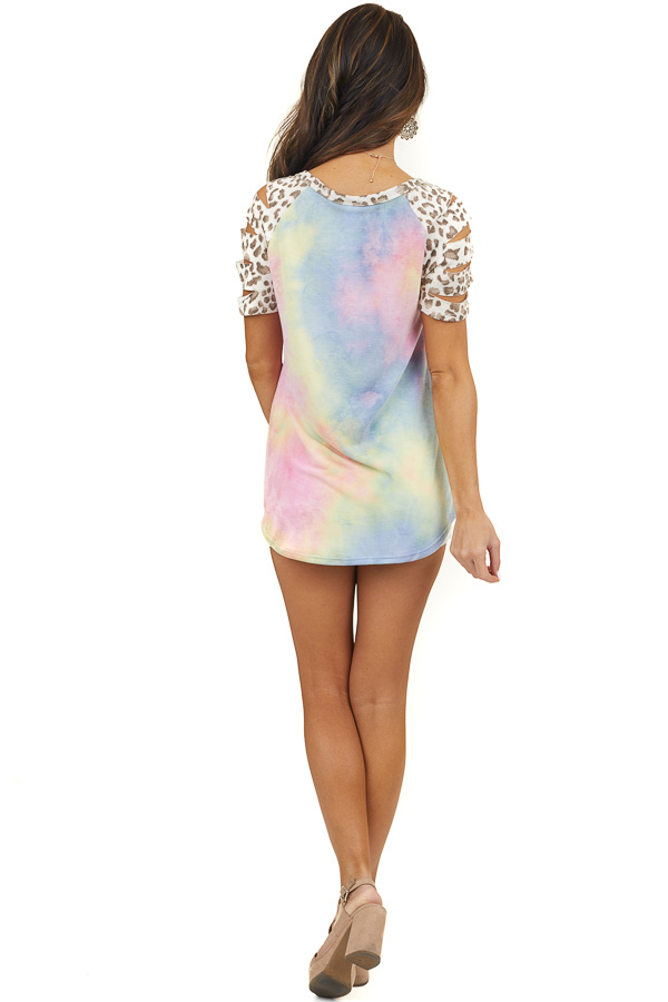 Rainbow Tie Dye Top with Leopard Contrast Short Sleeves