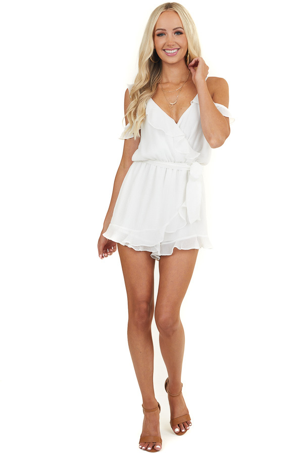 Off White Cold Shoulder Romper with Tulip Overlay