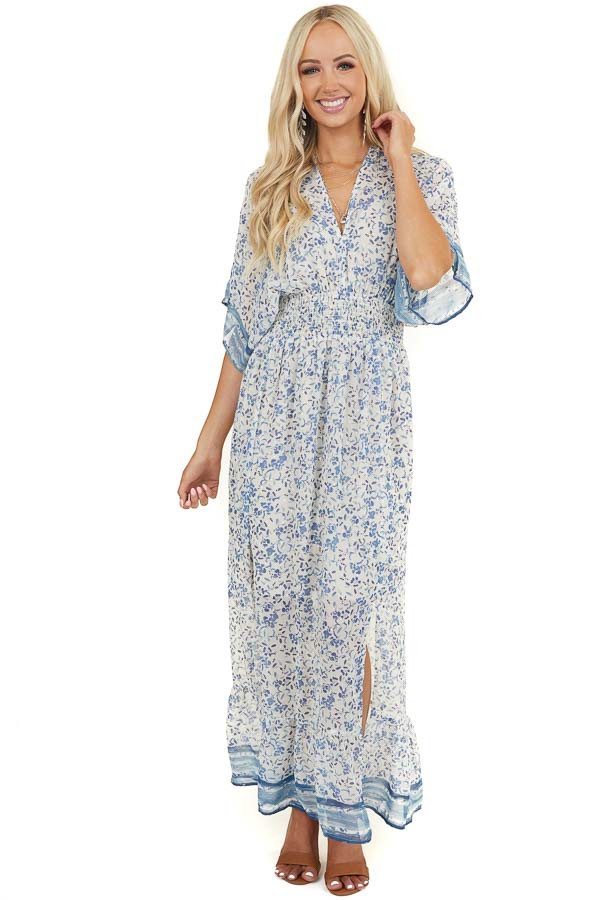 Ivory and Cornflower Blue Floral Dress with Smocked Waist