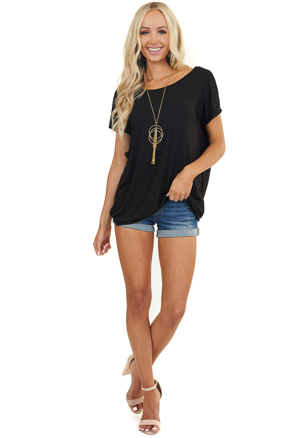 Black Short Sleeve Top with Open Back Criss Cross Detail