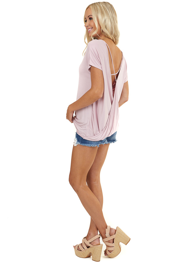 Blush Short Sleeve Top with Open Back Criss Cross Detail