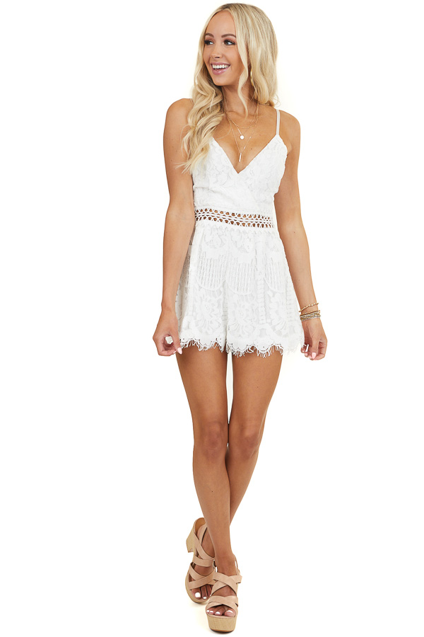 White Sleeveless V Neck Romper with Sheer Lace Details