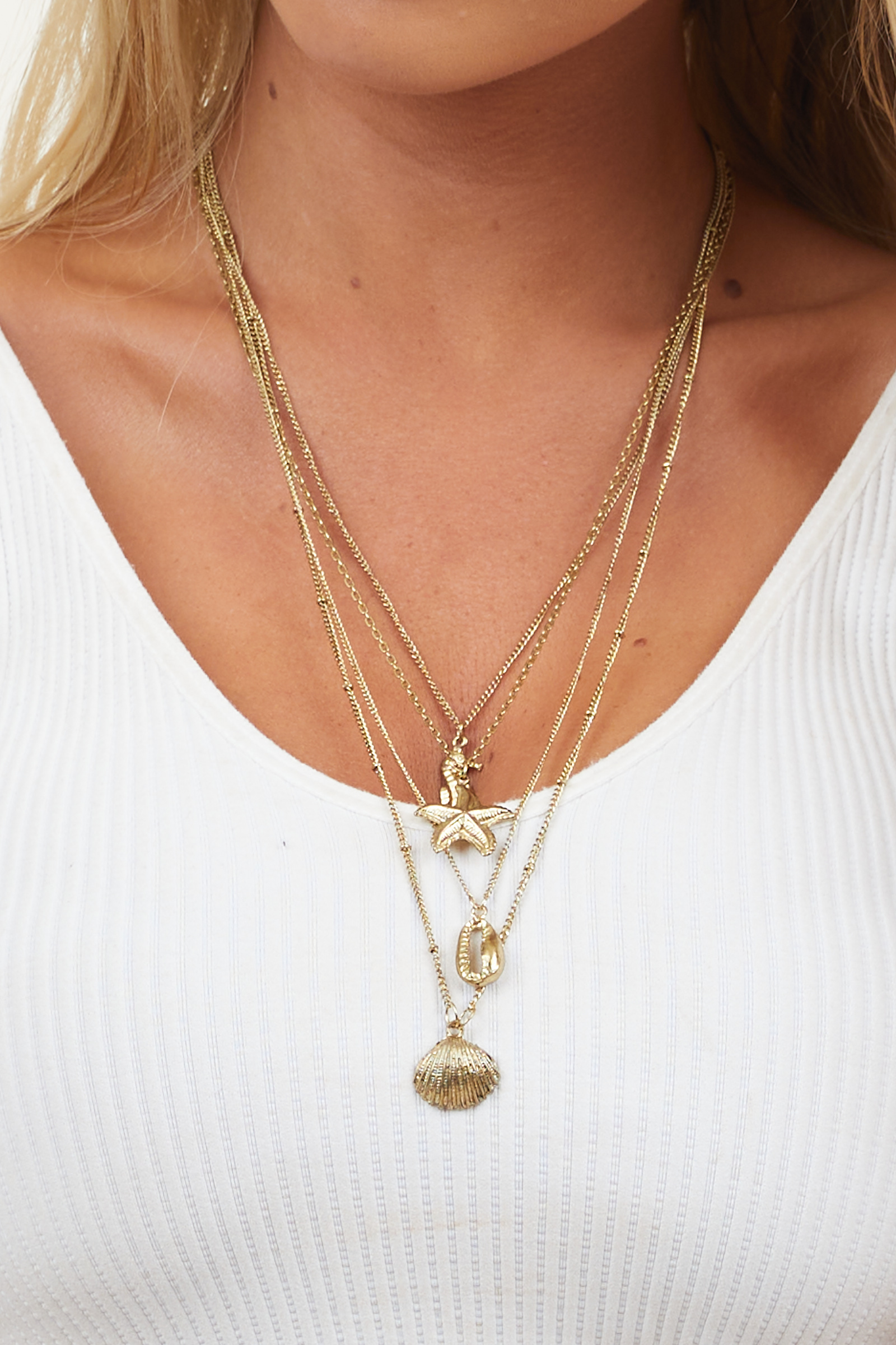 Antique Gold Layered Necklace with Nautical Pendants