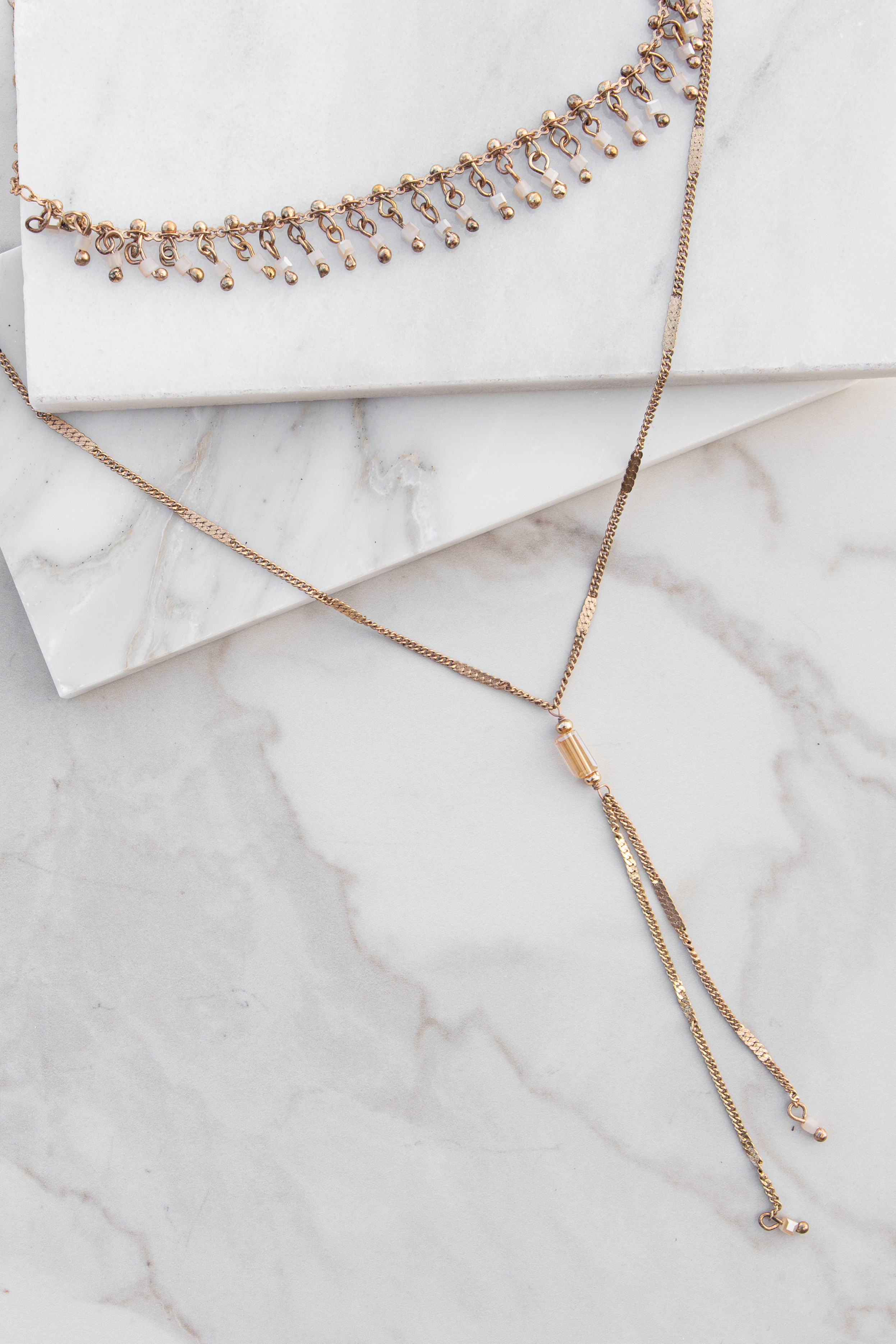 Antique Rose Gold Layered Necklace Pearlescent Bead Details