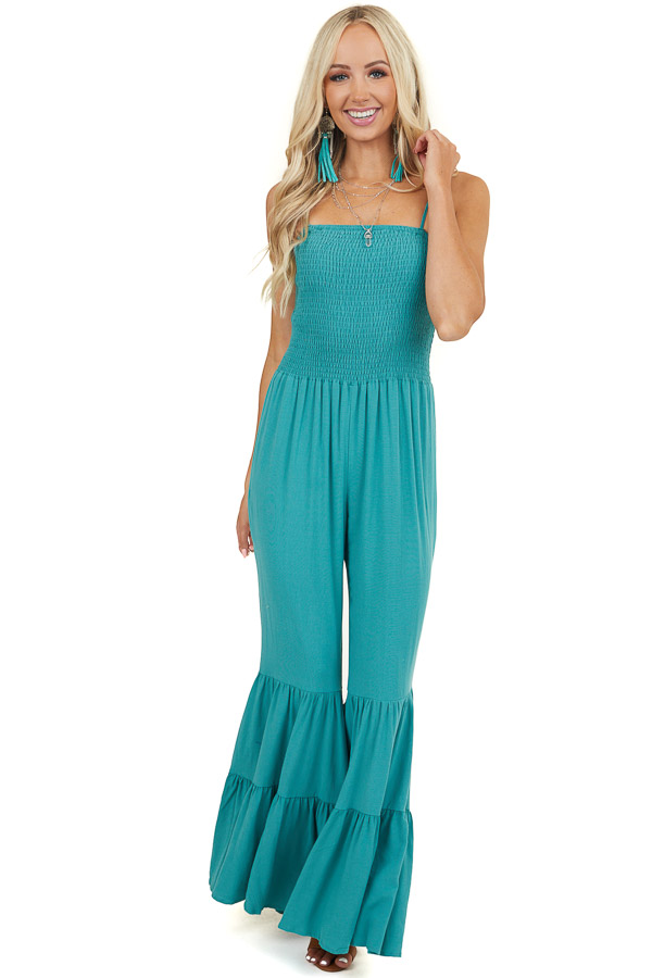 Teal Jumpsuit with Tassel Tie Shoulder Straps and Flare Legs