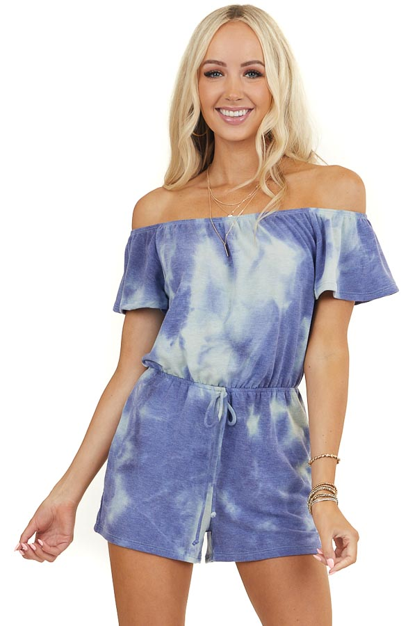Dusty Blue Tie Dye Off the Shoulder Romper with Pockets