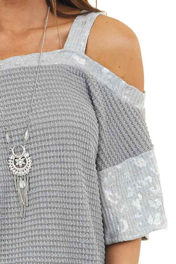 Heather Grey Cold Shoulder Top with Leopard Print Contrast