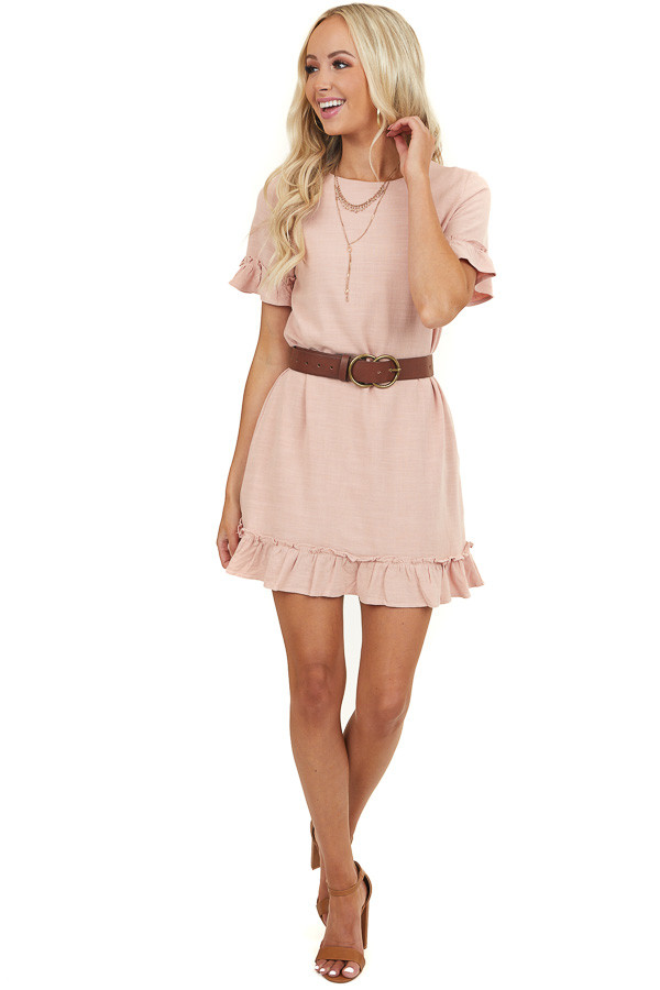 Blush Short Sleeve Mini Dress with Ruffle Details