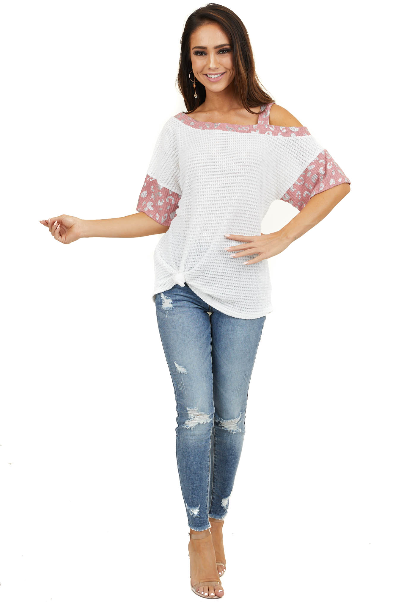 Off White Cold Shoulder Top with Leopard Print Contrast