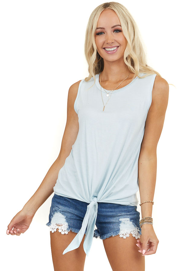 Baby Blue Soft Knit Muscle Tank Top with Front Tie Detail