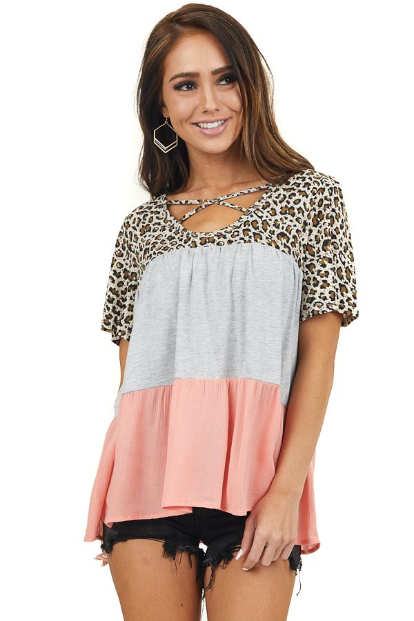 Grey Coral and Leopard Print Top with Criss Cross Neckline