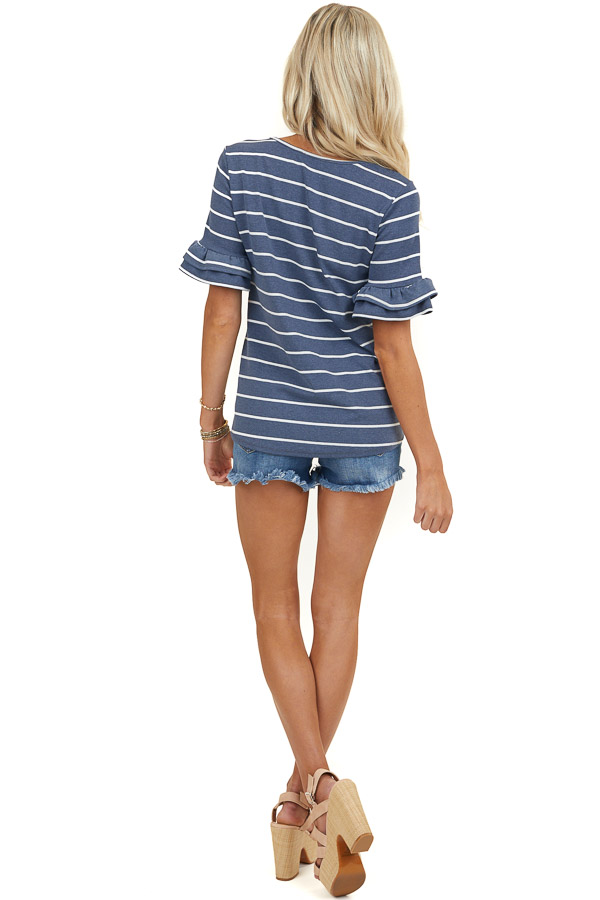 Stormy Blue Striped Print Knit Top with Short Ruffle Sleeves