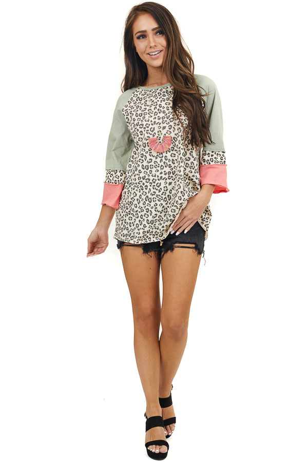 Champagne and Sage Leopard Print 3/4 Length Sleeve Top