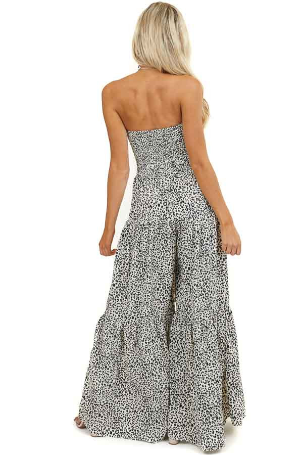 Ivory Leopard Print Strapless Woven Jumpsuit with Flare Legs