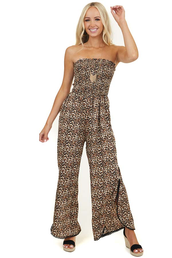 Cream Leopard Strapless Jumpsuit with Tasseled Leg Slits