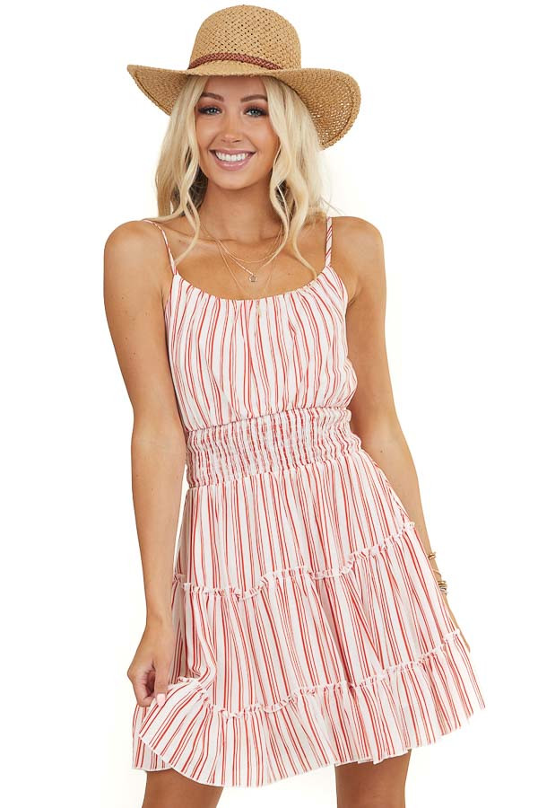 White and Red Striped Sleeveless Dress with Tiered Skirt