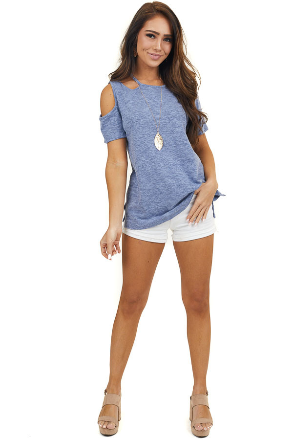 Blue Two Tone Short Sleeve Knit Top with One Cold Shoulder
