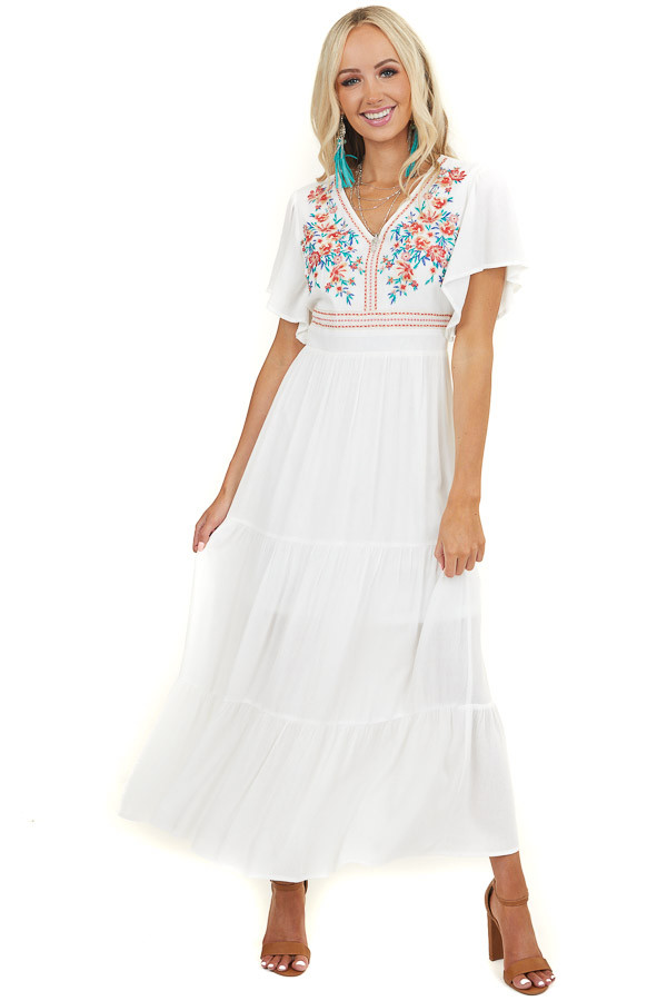 Ivory Embroidered Floral Maxi Dress with Tiered Detail