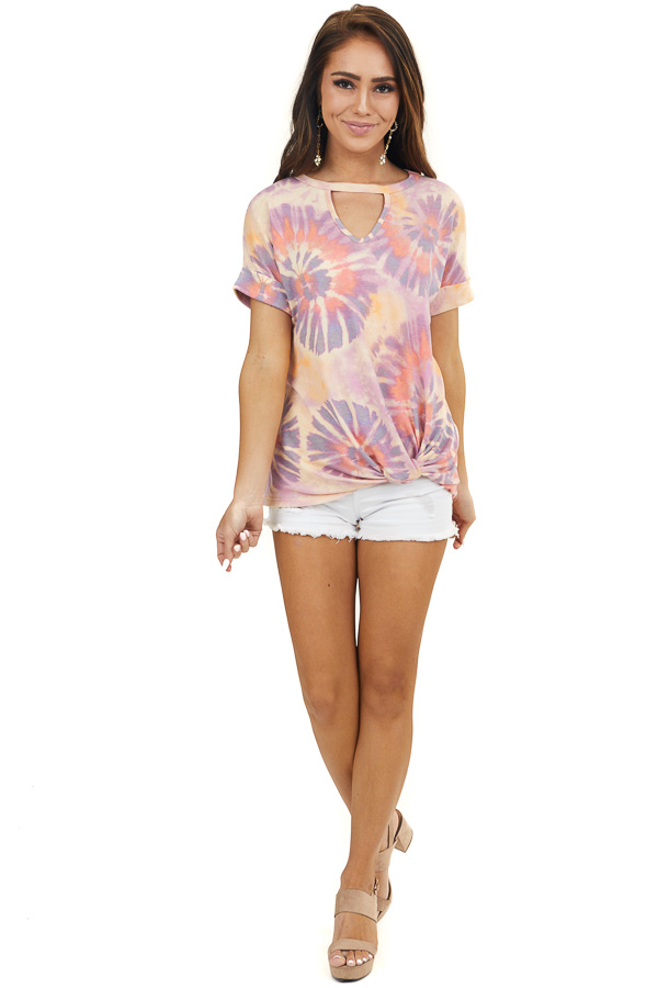 Purple and Coral Tie Dye Knit Top with Twisted Front Detail