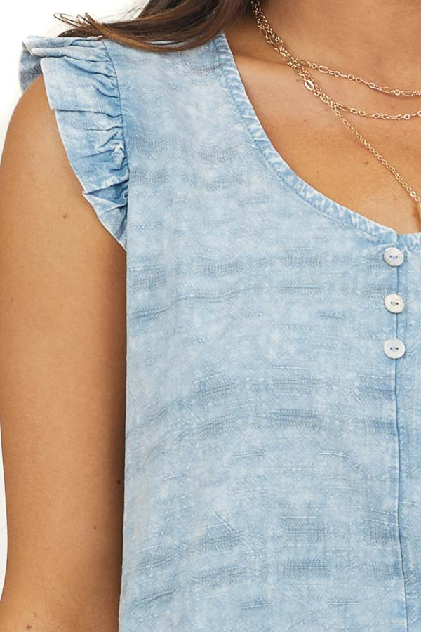 Dusty Blue Mineral Wash Top with Ruffle Details