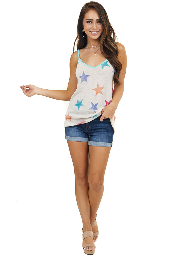 Desert Sand Tank Top with Multicolor Star Print