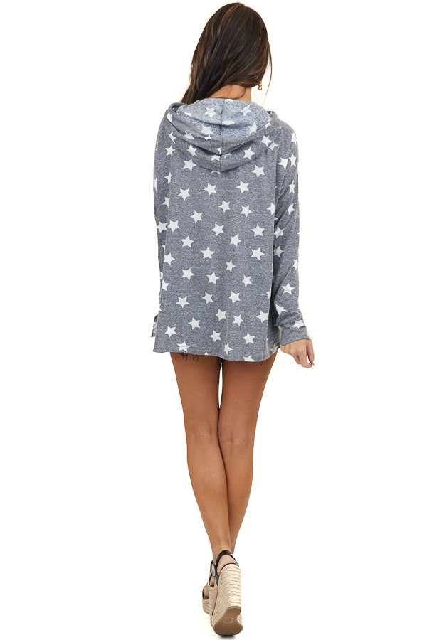 Faded Slate Blue Star Print Hooded Top with Long Sleeves