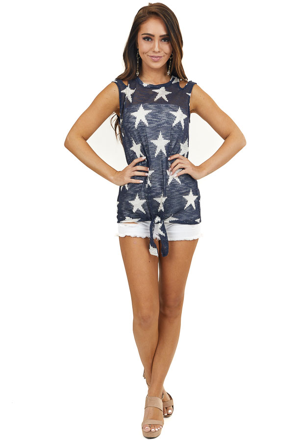Navy Star Print Tank Top with Cutout Details and Front Tie