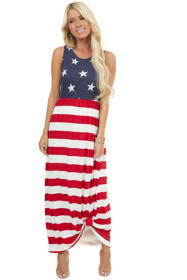Red White and Navy Patriotic Sleeveless Dress with Pockets