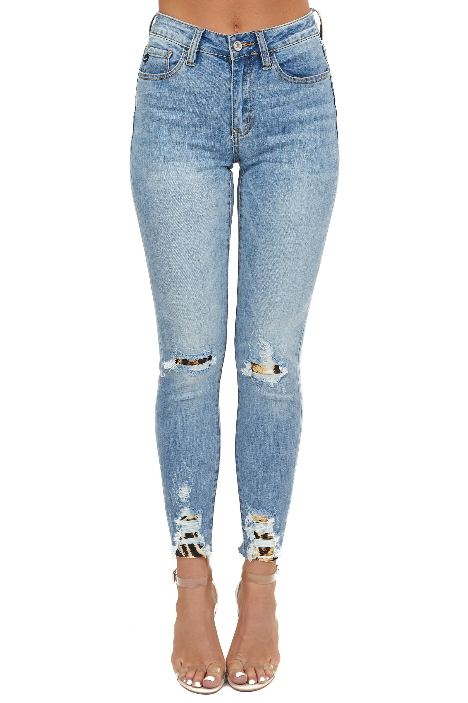 Midwash Denim Skinny Jeans with Leopard Patches and Raw Hems