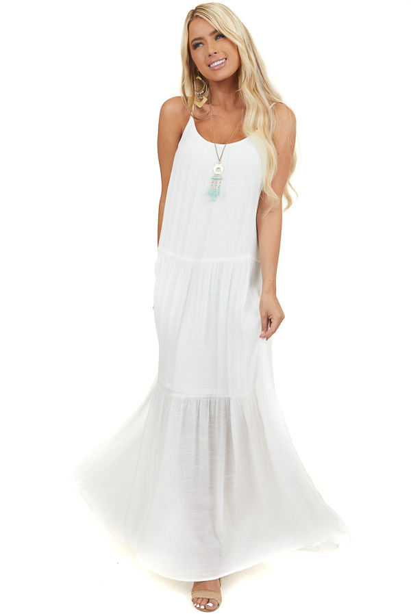 Off White Sleeveless Tiered Maxi Dress with Keyhole Detail