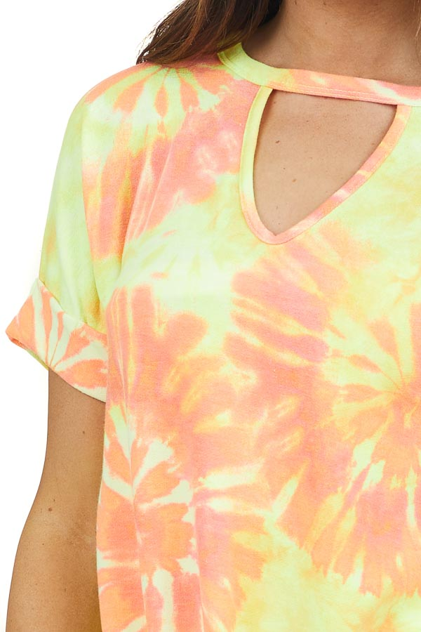 Yellow and Orange Tie Dye Knit Top with Twisted Front Detail